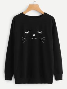 Cat Head Print Sweatshirt