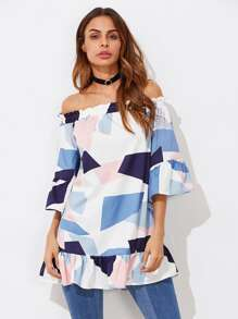 Bardot Frill Trim Abstract Geo Print Top