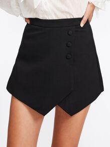 Falda-pantalón cruzada con bajo de pañuelo