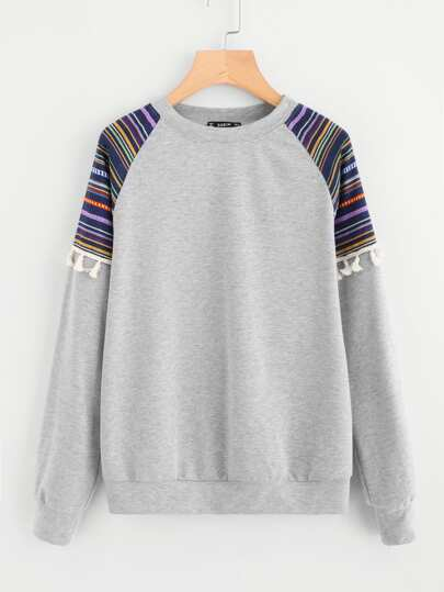 Tassel Trim Striped Jacquard Panel Pullover