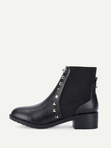 Rockstud Detail Block Heeled Ankle Boots