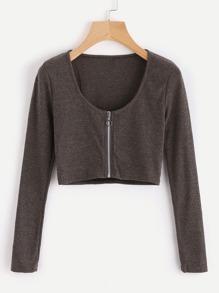 Zip Up Crop Knit Top