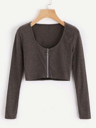 Zip Up Crop Knit Top