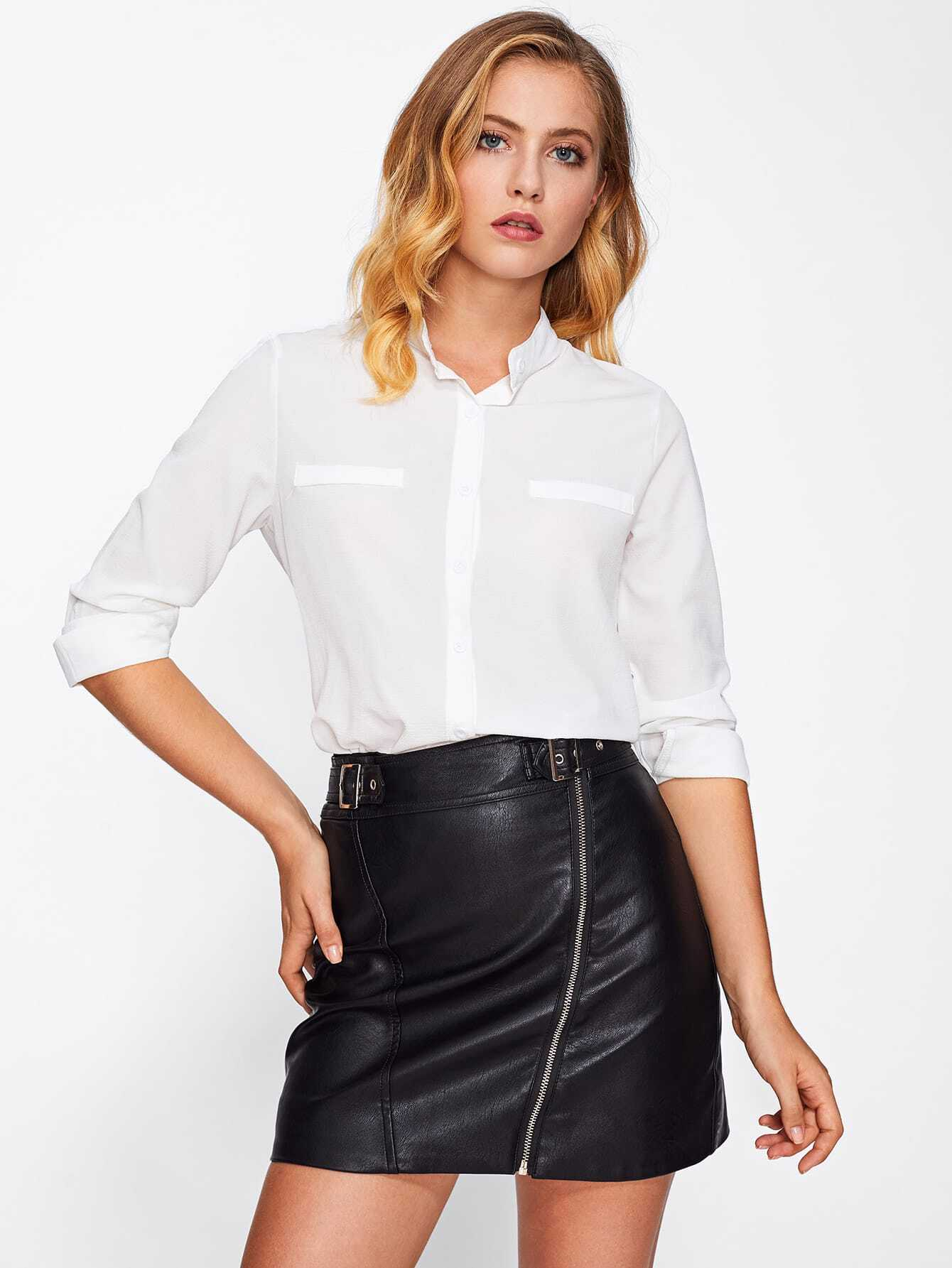Stand collar basic shirt emmacloth women fast fashion online for Stand collar shirt womens
