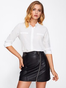 Stand Collar Basic Shirt