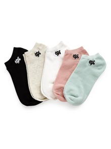 Cat Pattern Detail Socks 5pairs