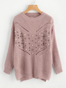 Pearl Beading Laddering Back Sweater