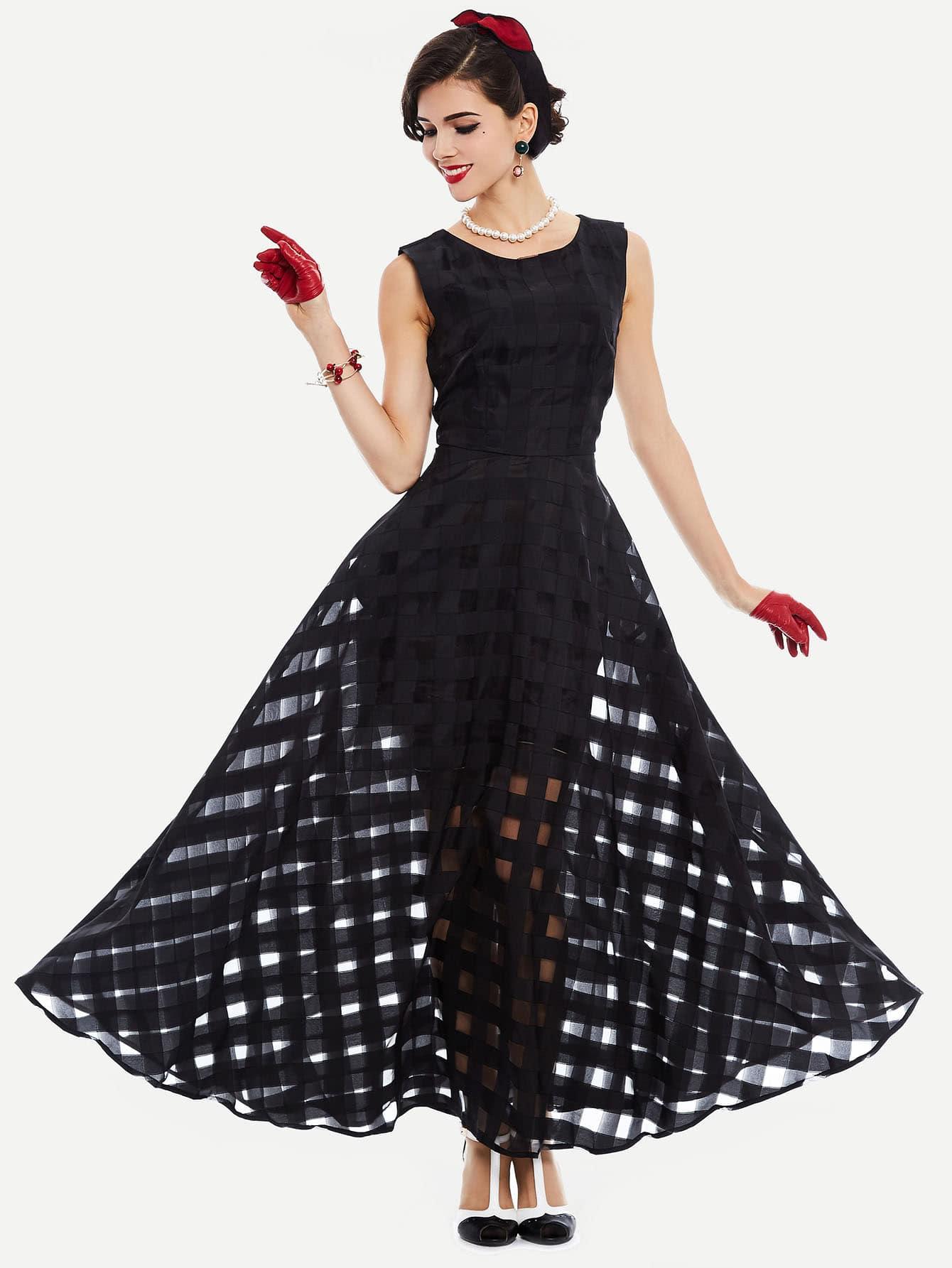 все цены на Mesh Checkered Flowy Dress