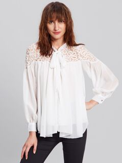 Bow Tie Lace Shoulder Blouse