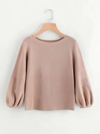 Lantern Sleeve Eyelet Lace Up Back Knit Sweater