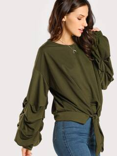 Ruched Sleeve Lightweight Sweatshirt OLIVE