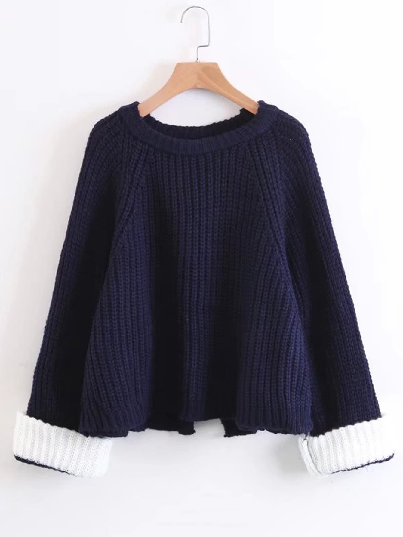 Contrast Cuff Raglan Sleeve Sweater