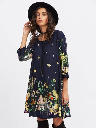 Botanical Print Swing Dress