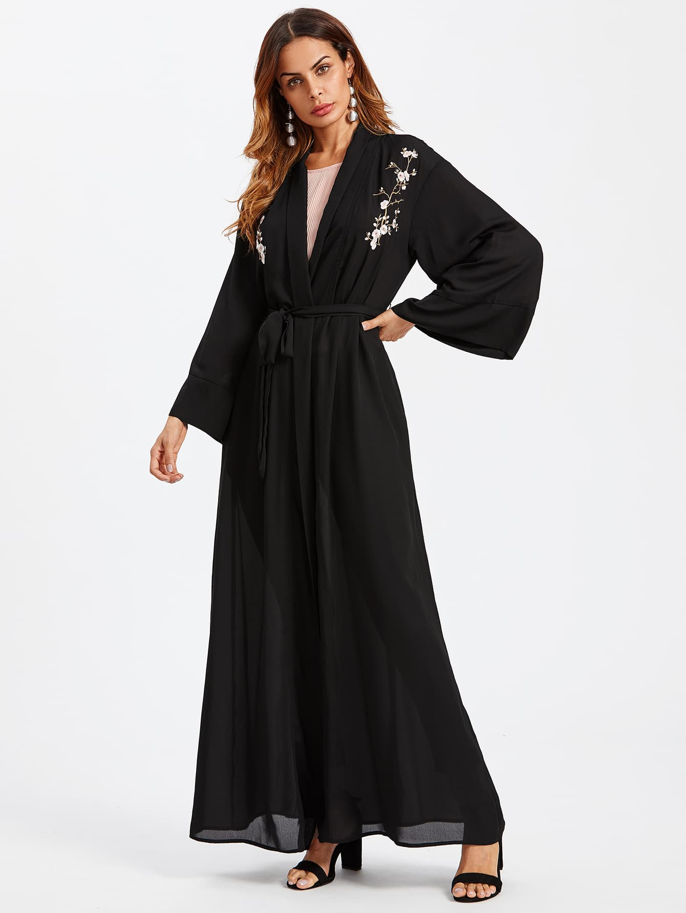 Image of Blossom Embroidered Front Belted Wrap Abaya