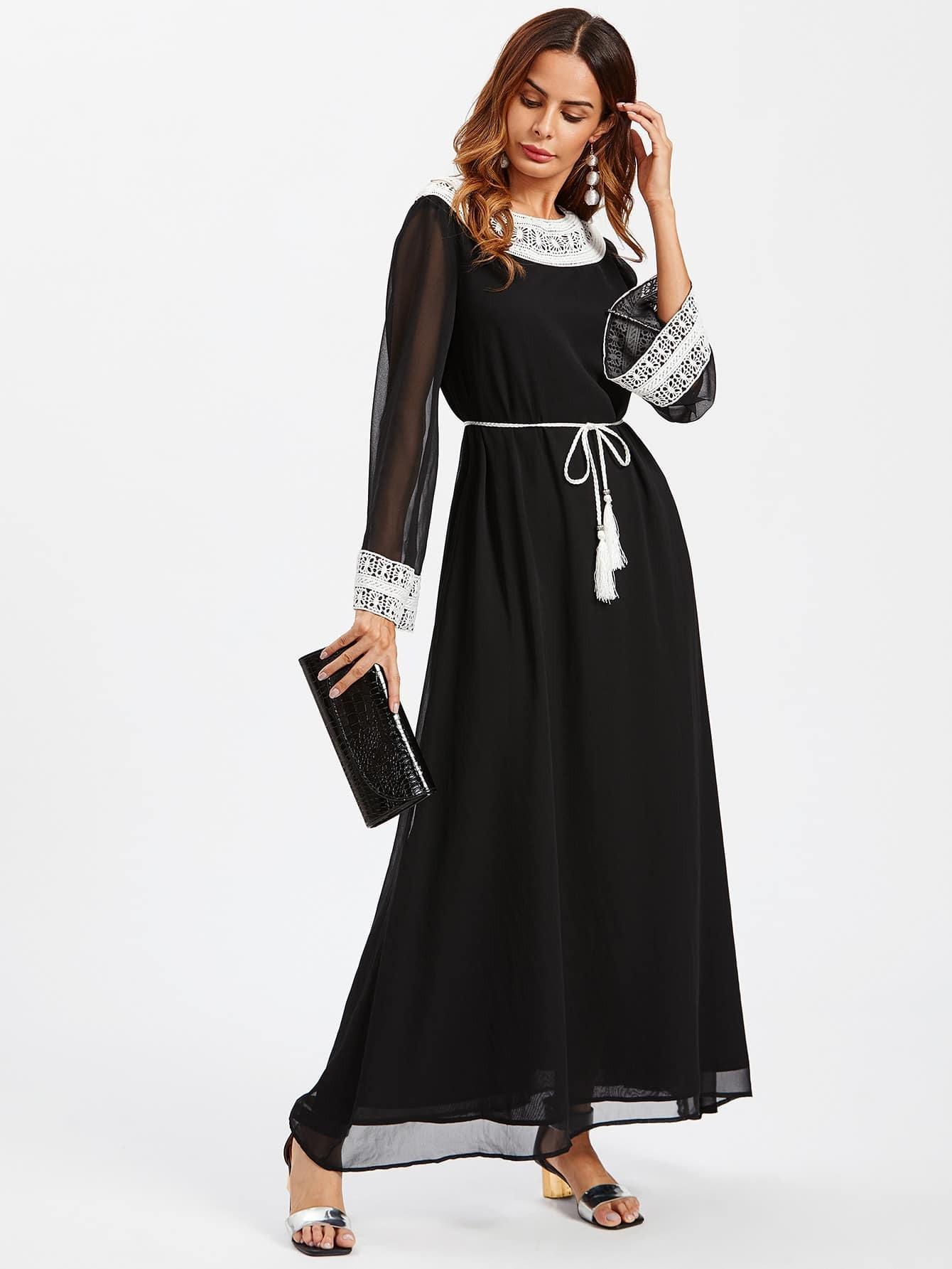 robe avec frange de taille avec applique de dentelle french romwe. Black Bedroom Furniture Sets. Home Design Ideas