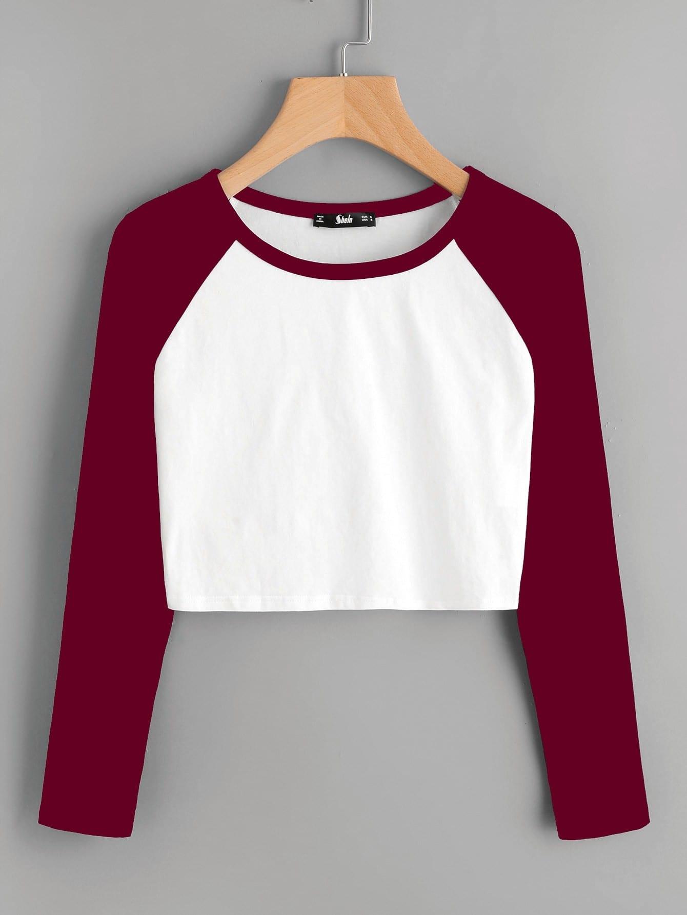 Contrast Raglan Sleeve Crop T-shirt christmas raglan sleeve jingle belly t shirt