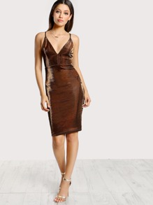 Spaghetti Strap Reflective Bodycon Dress BRONZE