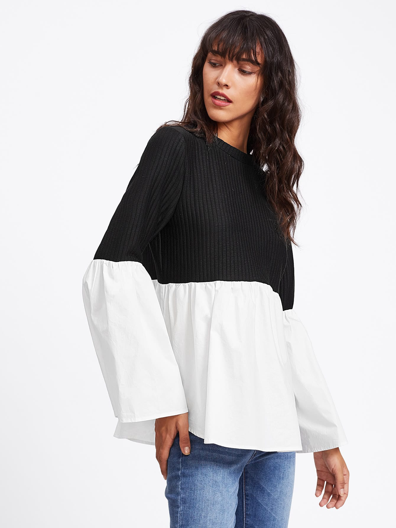 Fluted Sleeve Two Tone Mixed Media Ribbed Top