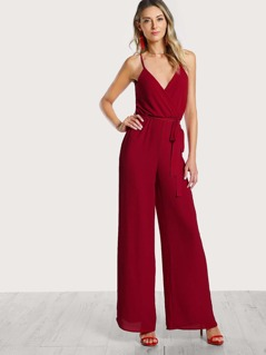 Spaghetti Strap Flowy Jumpsuit RED