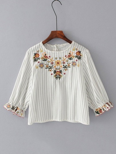 Embroidered Flower Button Back Striped Blouse