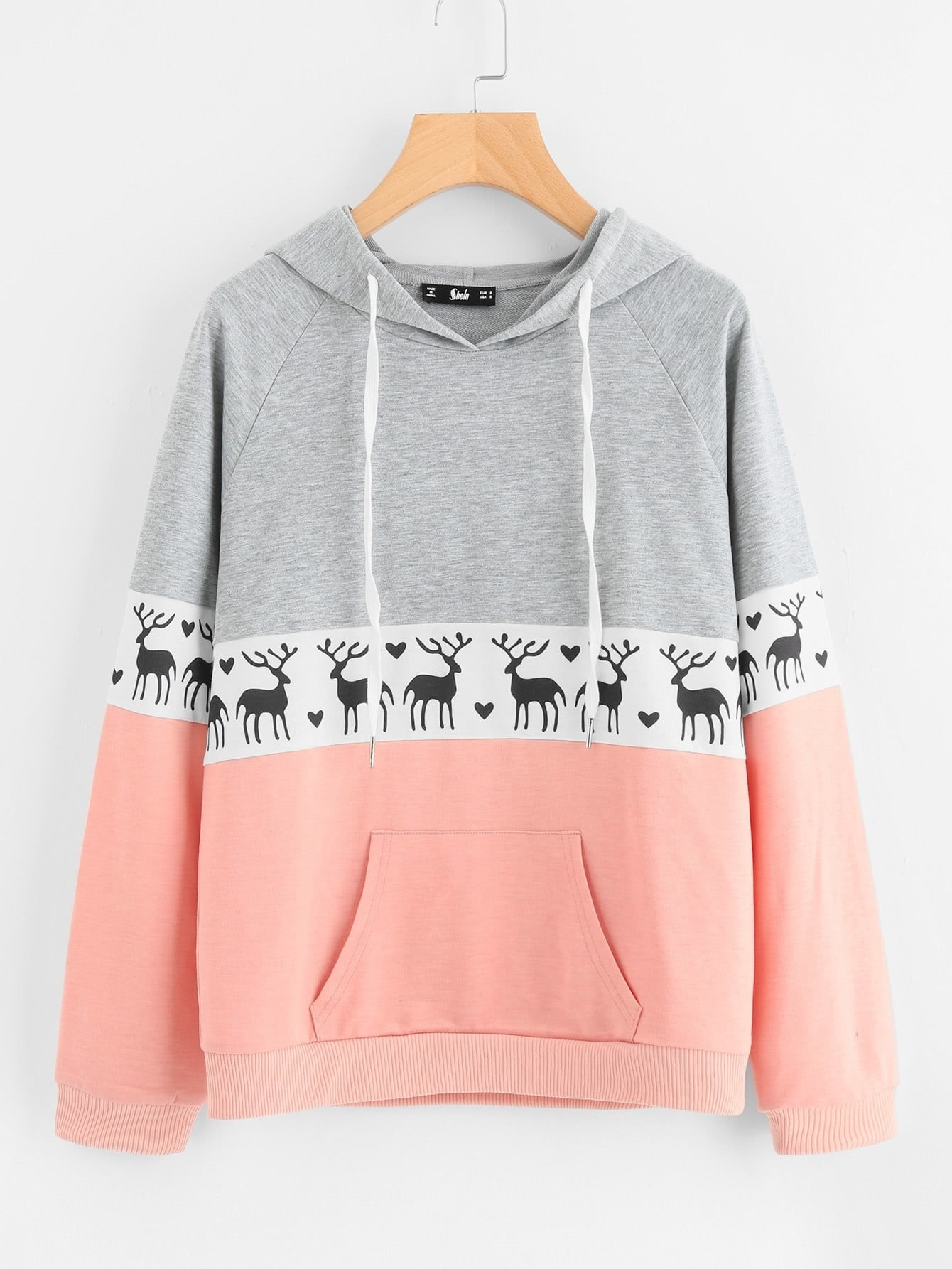 Cut And Sew Raglan Sleeve Deer Print Hoodie cut and sew raglan sleeve heathered pullover