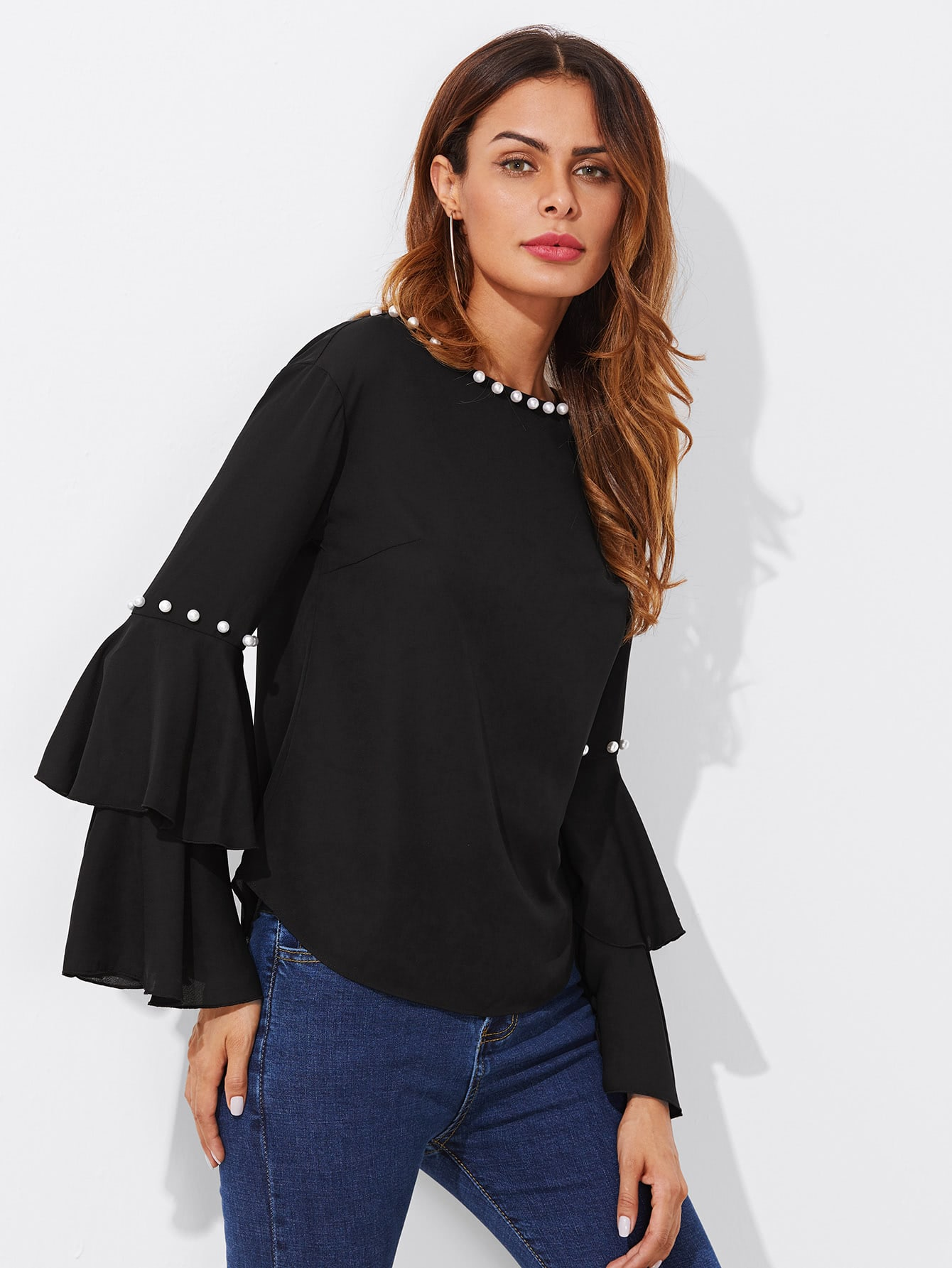 Tiered Trumpet Sleeve Pearl Embellished Blouse elegant trumpet sleeve open back blouse