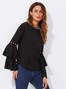 Tiered Trumpet Sleeve Pearl Embellished Blouse