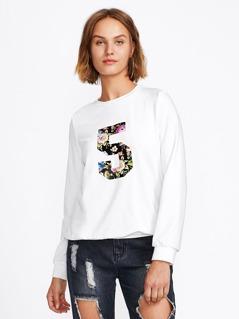 Floral Number Patch Sweatshirt