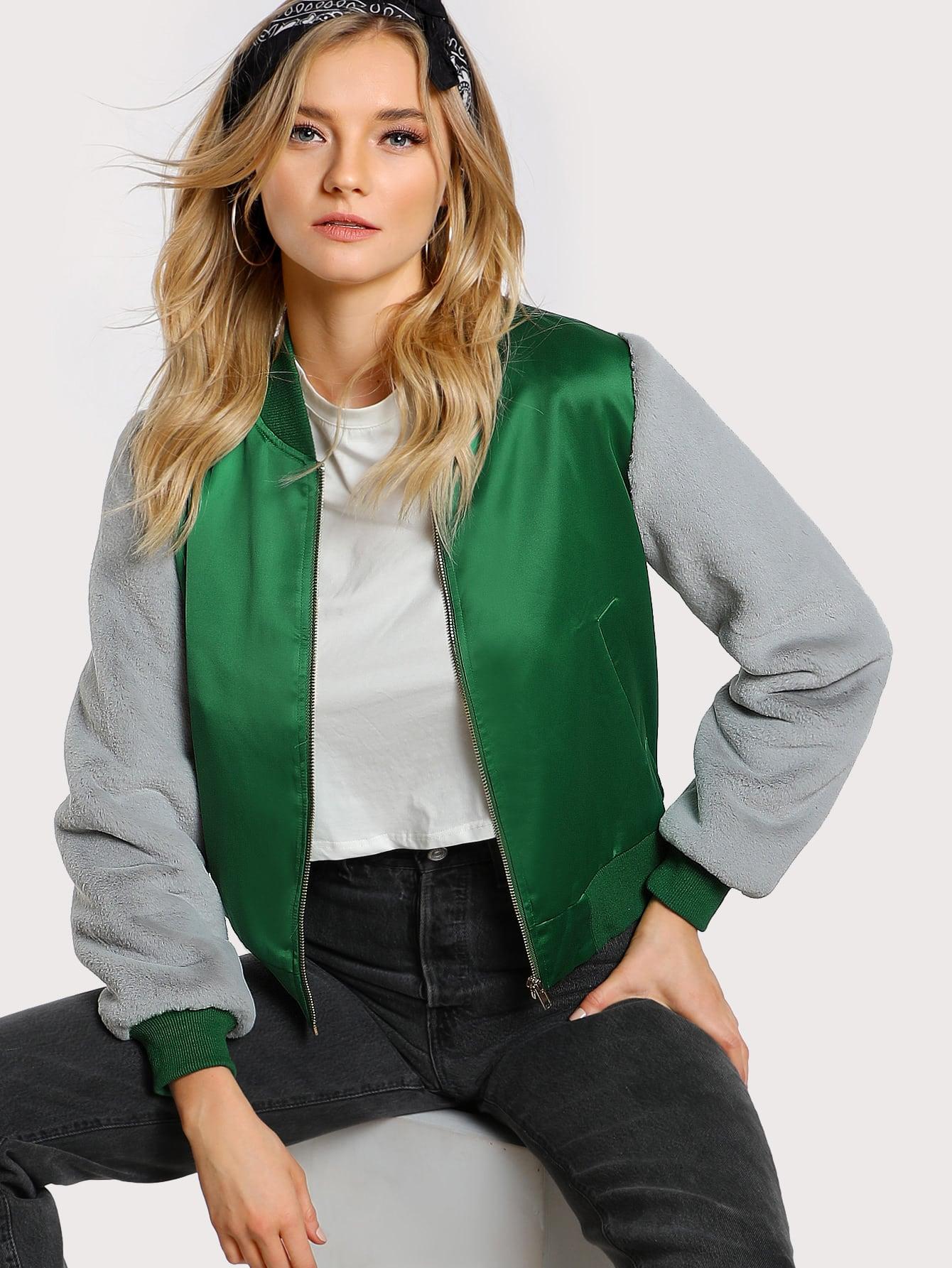 Contrast Faux Fur Sleeve Bomber Jacket drop shoulder contrast faux fur sleeve sweatshirt