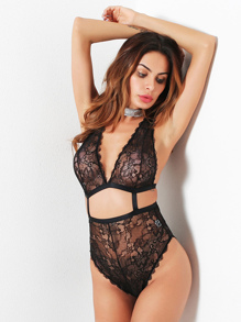Scalloped Trim Cut Out Lace Teddy
