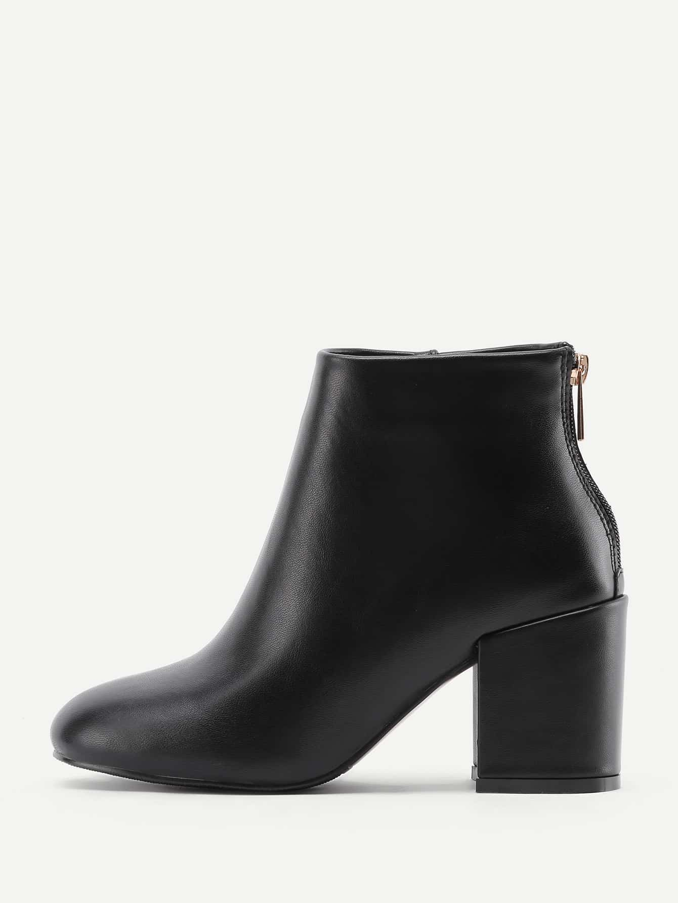 Image of Back Zipper Block Heeled Ankle Boots