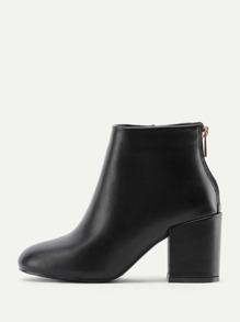 Back Zipper Block Heeled Ankle Boots