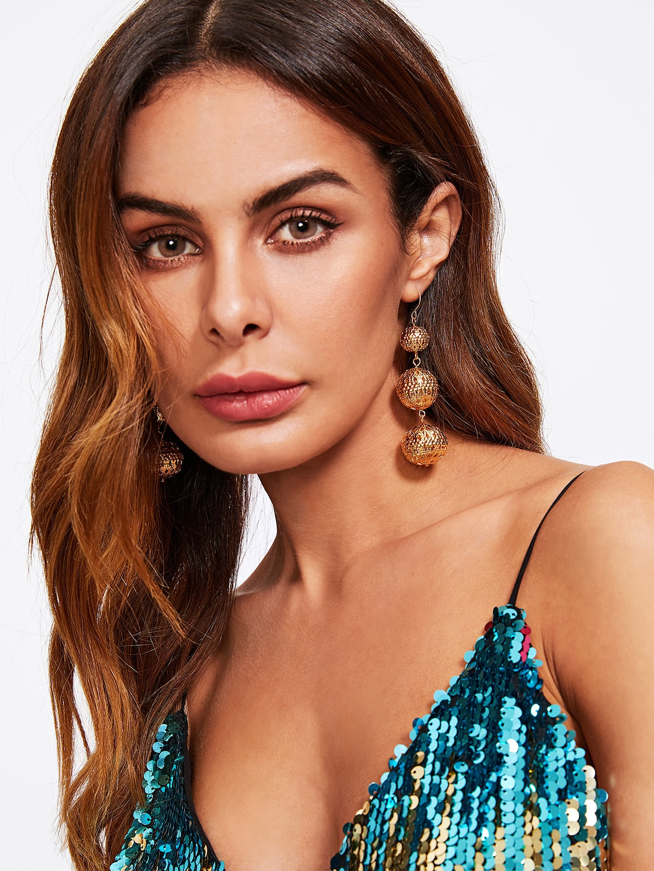 Hollow Ball Design Drop Earrings earringER170911305