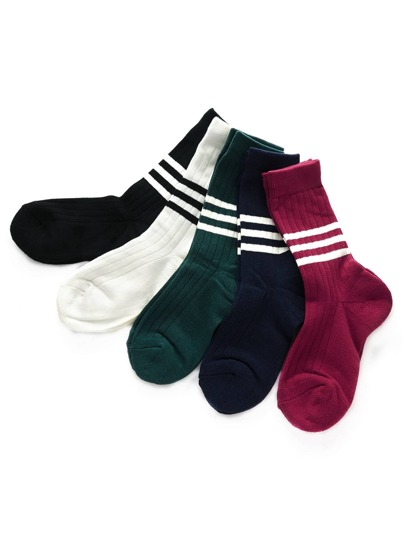 Striped Detail Ankle Socks 5pairs