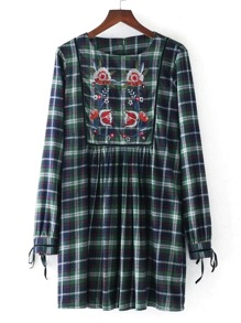 Embroidery Flower Tie Cuff Plaid Dress