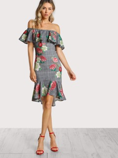 Off Shoulder Flounce Flower Print Dress GREY
