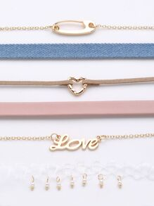 Letter Love & Heart Detail Choker Set 6pcs
