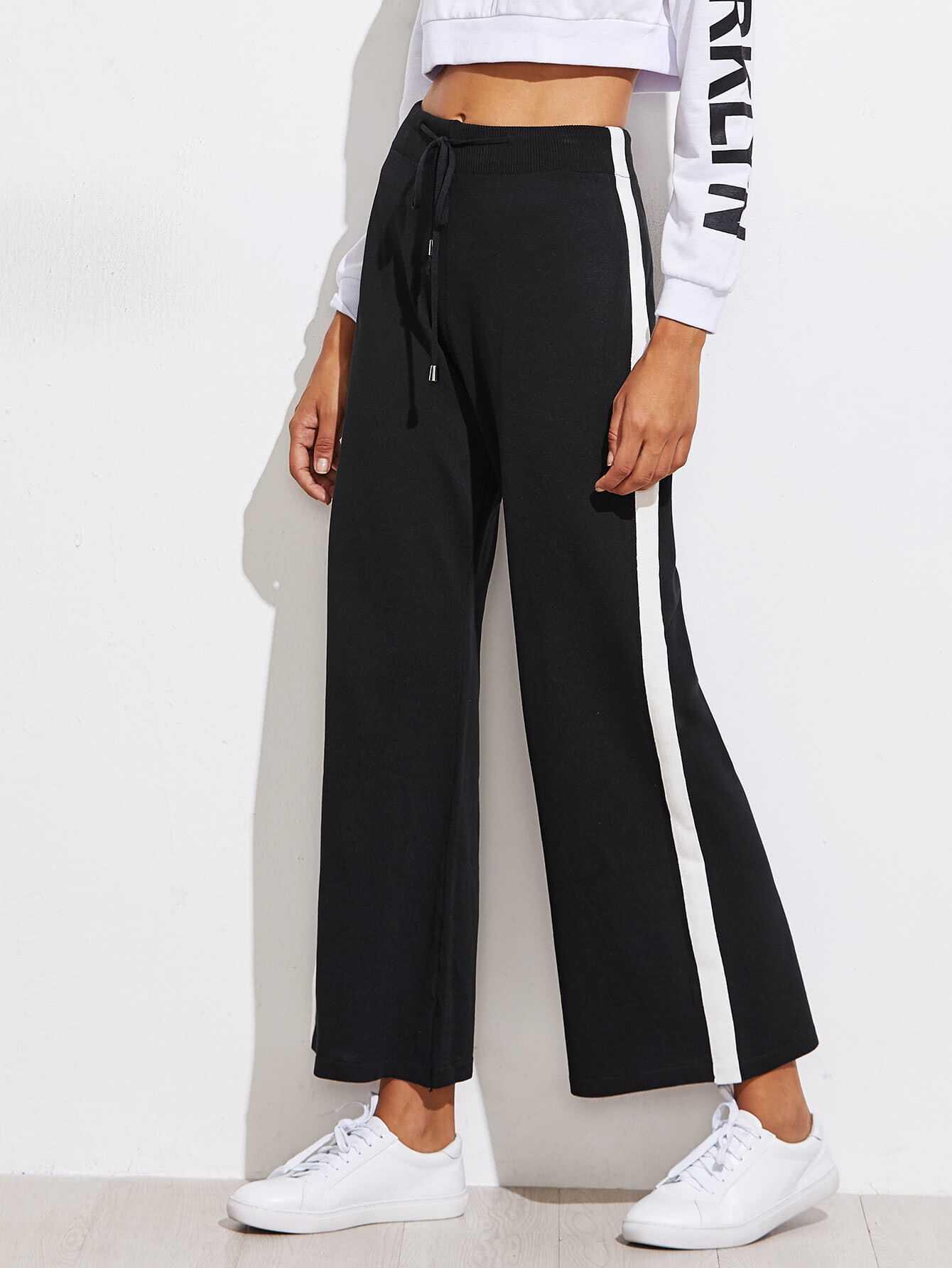 Contrast Panel Side Track Pants striped side track pants