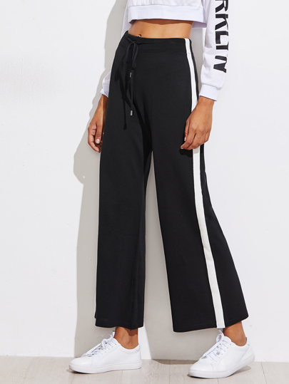 Contrast Panel Side Track Pants