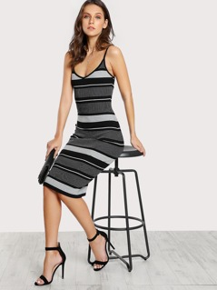 Striped Spaghetti Strap Dress BLACK WHITE