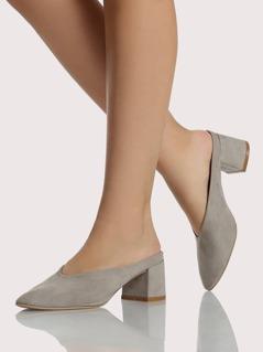 Slip On Chunky Heels GREY