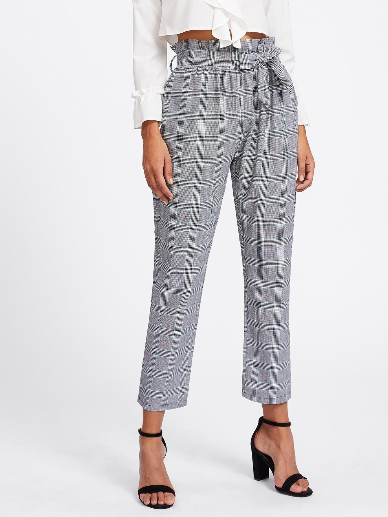 Tie Waist Glen Plaid Frill Pants dark grey tie waist sports pants
