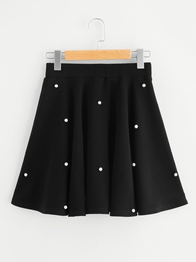 Pearl Embellished Textured Swing Skirt