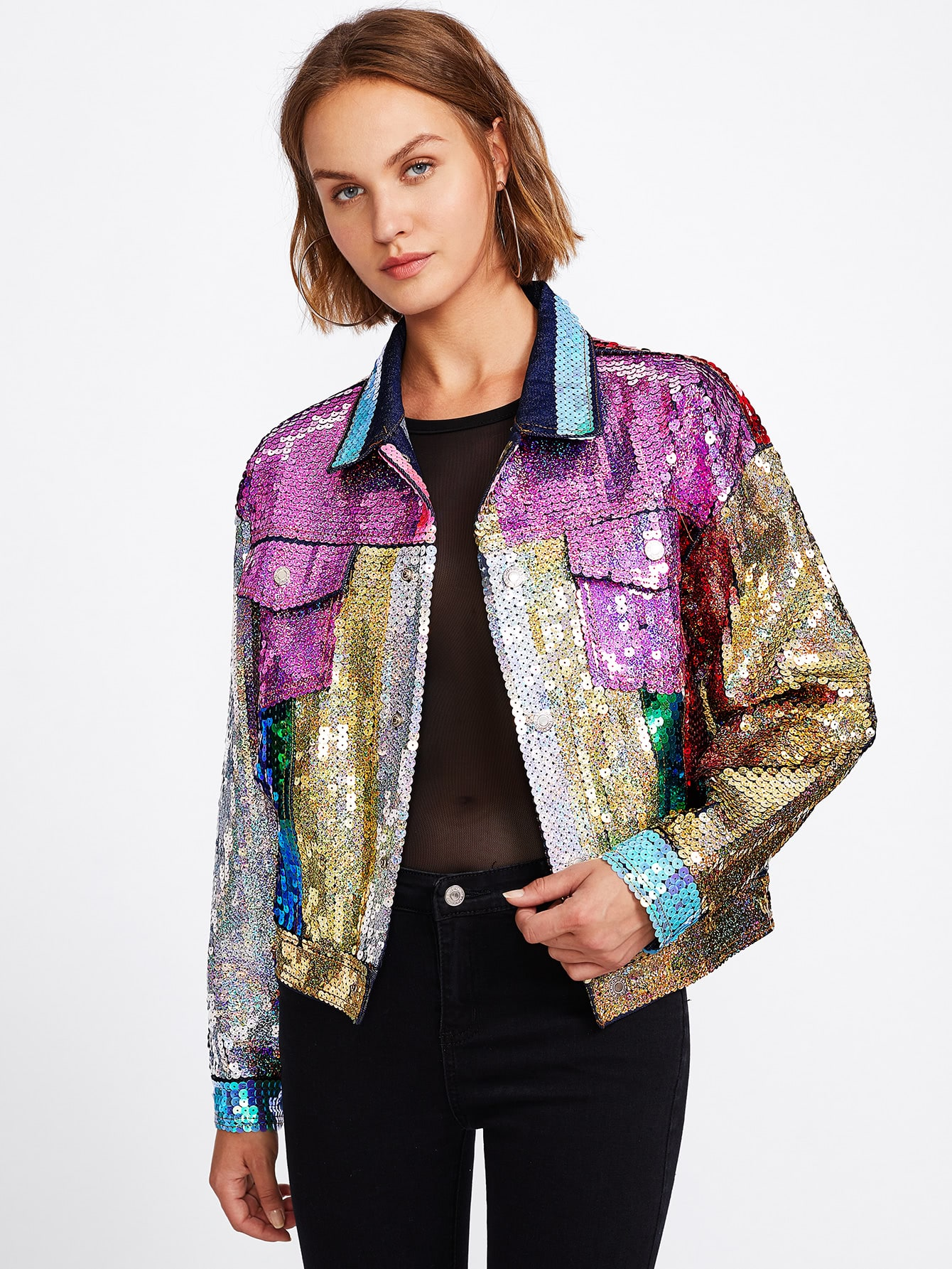 Image of Ombre Sequin Bomber Jacket