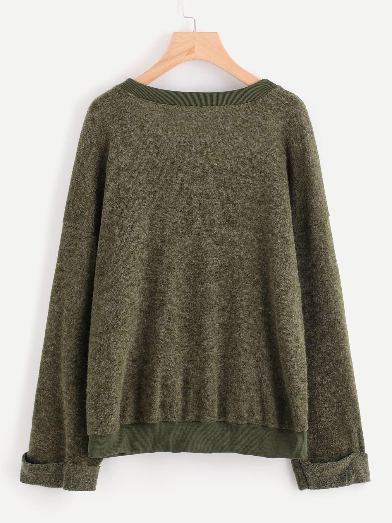 Rolled Cuff Shift Sweater