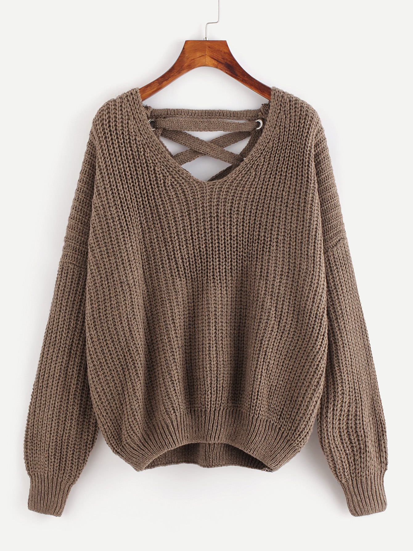 Grommet Lace Up Plunge Back Chunky Knit Sweater plunge neck knit pullover sweater