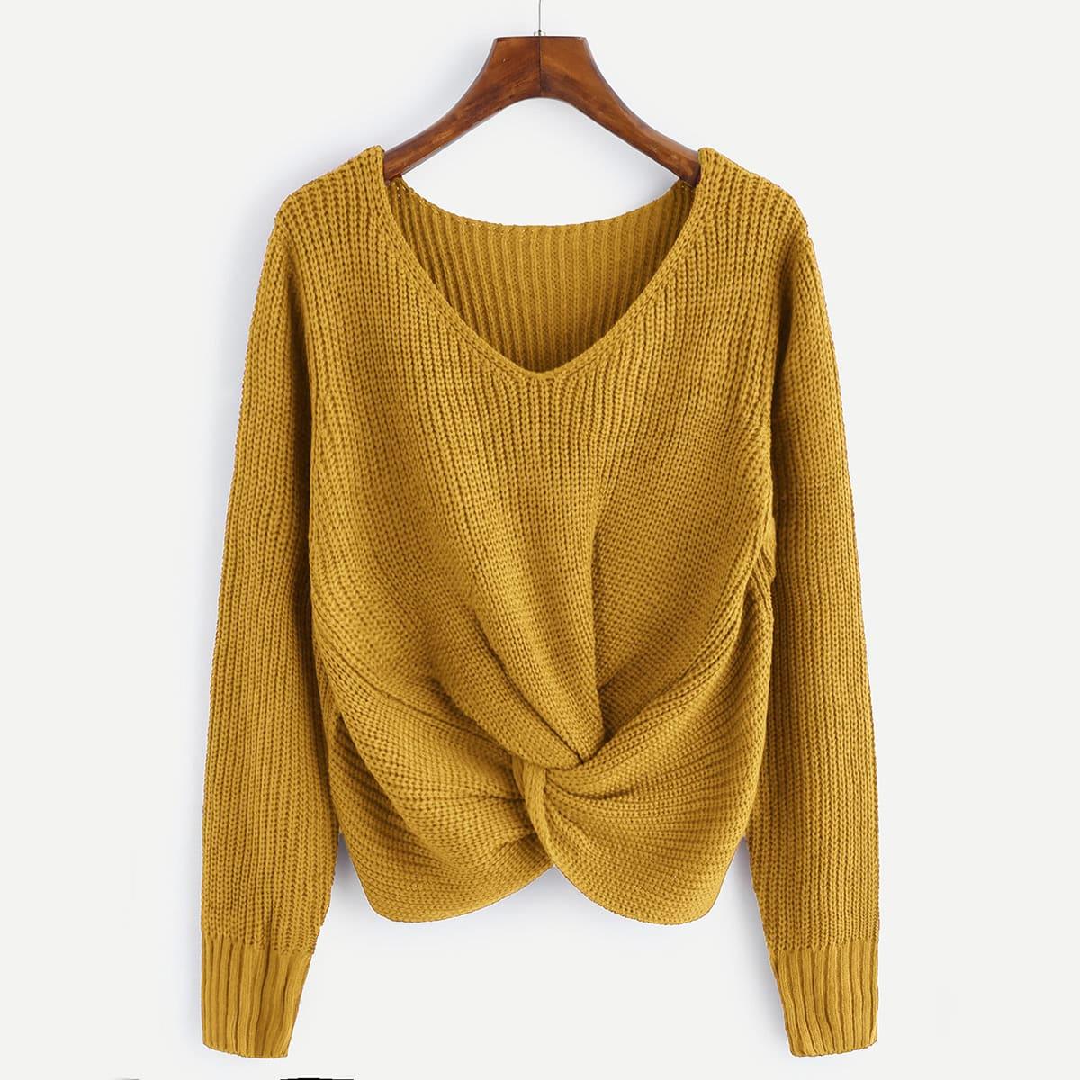 Knit trui met knoop
