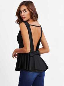Bow Cut Out Back Peplum Hem Tank