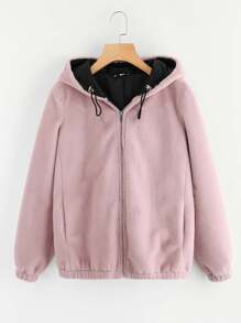 Drawstring Hooded Fluffy Sweatshirt
