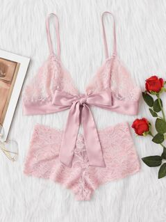 Tie Front Lace Bralette And Pantie Lingerie Set